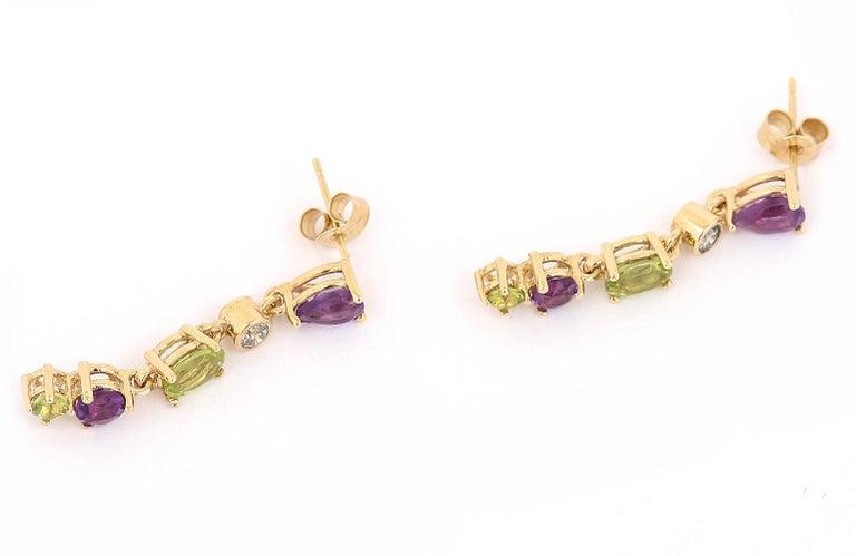 Women's Suffragette Style Peridot, Diamond and Amethyst Drop Earrings For Sale