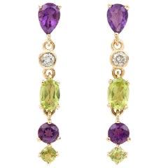 Suffragette Style Peridot, Diamond and Amethyst Drop Earrings