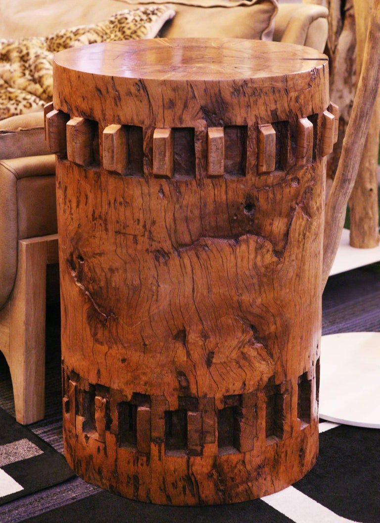Philippine Sugar Cane Breakers Set of Two Pedestals in Solid Nara Wood For Sale
