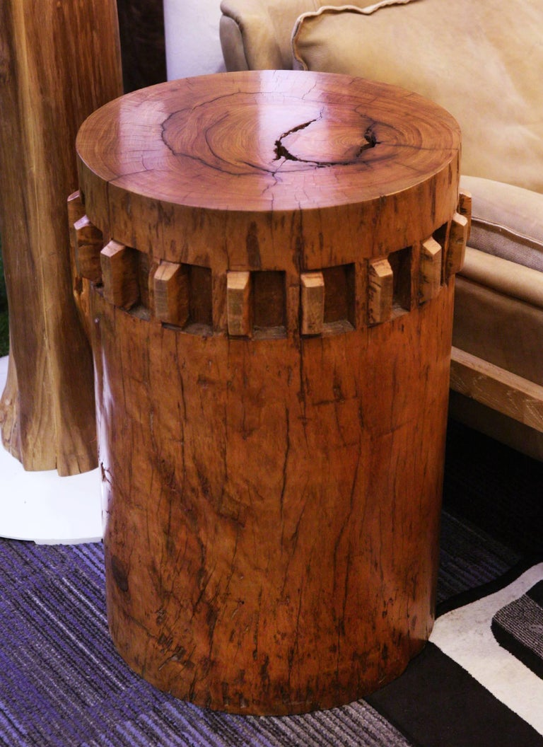 Hand-Crafted Sugar Cane Breakers Set of Two Pedestals in Solid Nara Wood For Sale