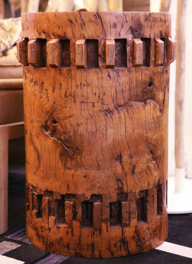 Sugar Cane Breakers Set of Two Pedestals in Solid Nara Wood In Excellent Condition For Sale In Paris, FR