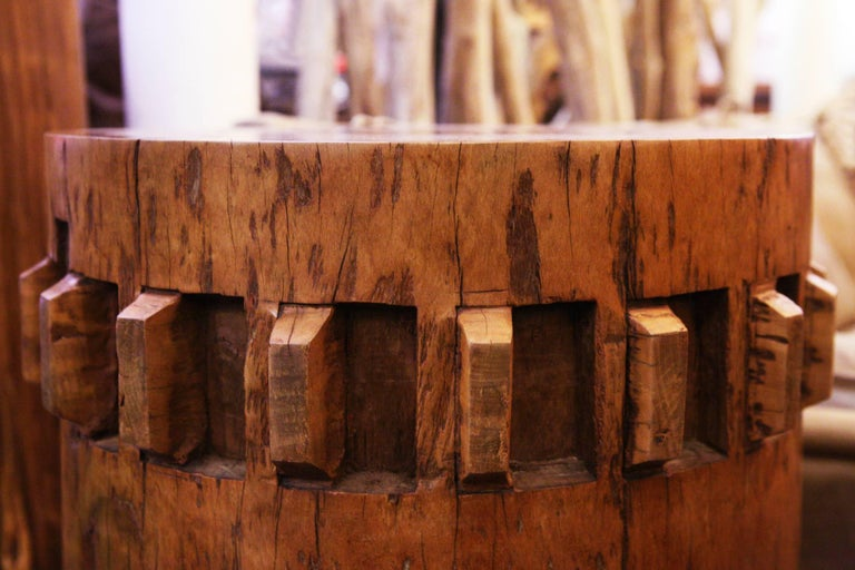 Sugar Cane Breakers Set of Two Pedestals in Solid Nara Wood For Sale 2