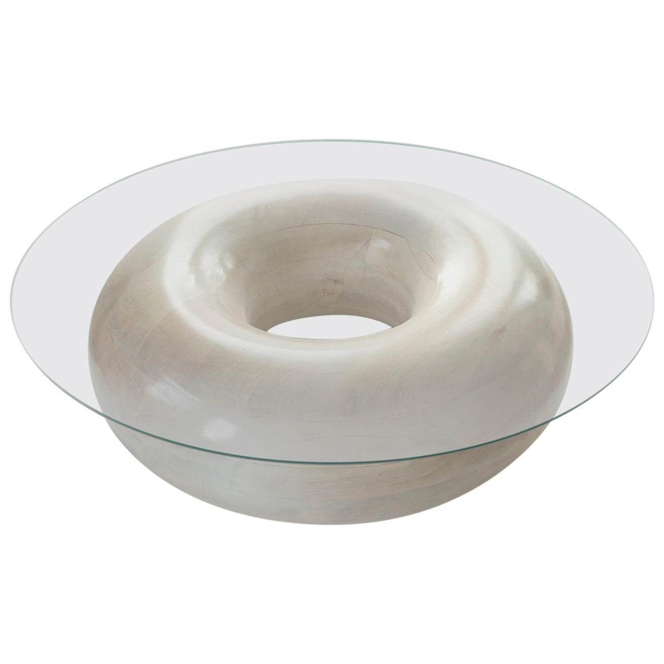 Sugar Donut Circular 48-Inch Mango Wood and Tempered Glass Coffee Table