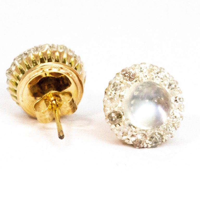 Modern Sugar Loaf Moonstone and Diamond Cluster Stud Earrings For Sale