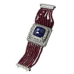 Veschetti Sugar Loaf Tanzanite, Mozambique Ruby and Diamond Watch-Bracelet