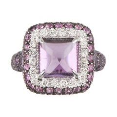 Sugarloaf Amethyst, Diamond, Sapphire 18 Karat White Gold Ring