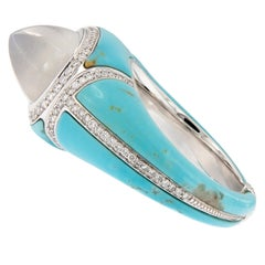 Sugarloaf Burmese Moonstone and Sleeping Beauty Turquoise Diamond Dome Ring