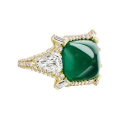 Sugarloaf Cabochon Emerald and Diamond Ring