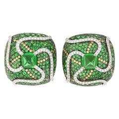 """Sugarloaf Cabochon"" Tsavorite and Diamond Earrings in Yellow and White Gold"