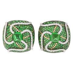 "Rosior ""Sugarloaf Cabochon"" Tsavorite and Diamond one of a kind Drop Earrings"