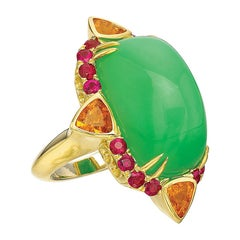 Sugarloaf Chrysoprase, Ruby and Spessartite Garnet Cocktail Ring