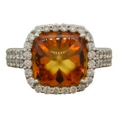Sugarloaf Citrine Diamond Gold Ring