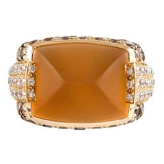 Maboussin Paris Sugarloaf Citrine Ring with Brown Seven White Diamonds