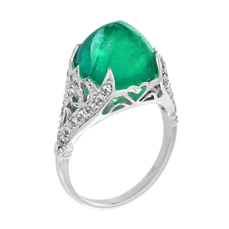 Sugarloaf Colombian Emerald Cocktail Ring in 18K White Gold
