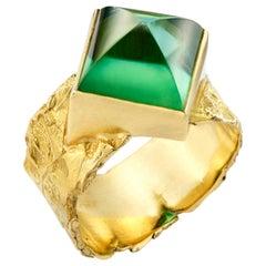 Sugarloaf Cut Green Tourmaline Set in 18 Karat Gold Seascape Wrap Band