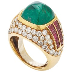 Sugarloaf Emerald Ruby Diamond Ring