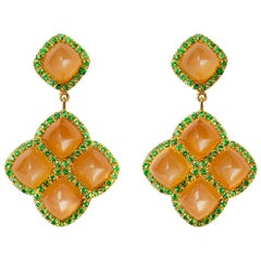 Sugarloaf Moonstone and Tsavorite Dangle Earrings in 19.2 Karat Yellow Gold