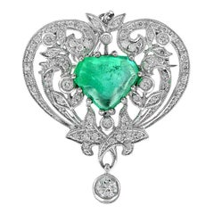 Sugarloaf Natural Colombian Emerald 4.57 Carat Diamond Pendant Brooch Combo