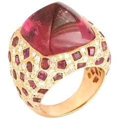 Sugarloaf Rubellite, Ruby with Diamond Ring Set in 18 Karat Pink Gold Settings