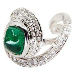Sugerloaf Emerald 2.07 Carat and Diamond Cocktail Ring, 18 Karat White Gold