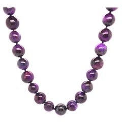 Sugilite Bead Necklace with Yellow Gold Clasp