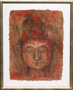 "Buddha, Mixed Media on paper, Red, Brown by Modern Indian Artist ""In Stock"""