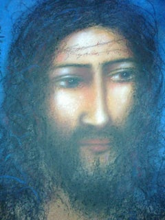 "Christ II, Symbolic of the Pain & Torture, Mixed Media on paper, Blue ""In Stock"""