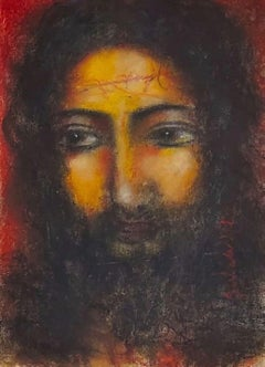 """Christ, Mixed Media on Board by Modern Indian Artist """"In Stock"""""""