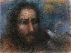 """Christ and Dove, Pastel on Thick Paper, Blue Black by Indian Master """"In Stock"""""""