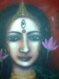 "Durga, Mythology, Mixed Media on Board, Blue, Pink by Indian Artist ""In Stock"""