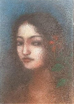 "Radha, Mixed Media on Paper by Modern Artist Suhas Roy ""In Stock"""