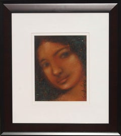 "Radha, Mysterious, Colored Pastel on Board, Red, Blue by Indian Artist""In Stock"""