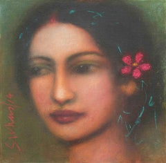 "Radha, Mysterious, Ethereal, Godlike, Oil on Canvas by Indian Artist ""In Stock"""