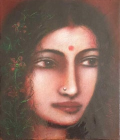 "Radha, Mystic, Oil on canvas by Modern Artist ""In Stock"""