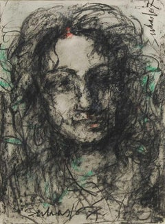"Radha, Mystic Woman, Mixed Media on Paper by Modern Indian Artist ""In Stock"""