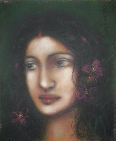 "Radha, Mythology, Pastel on Paper, Pink, Blue by Modern Indian Artist ""In Stock"""