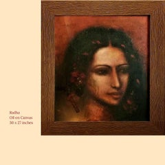 """Radha, Oil on Canvas by Modern Artist Suhas Roy """"In Stock"""""""