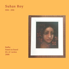 """Radha, Pastel on Board by Modern Artist Suhas Roy """"In Stock"""""""