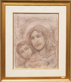 "Virgin Mother, Mary and Jesus, Modern Art, Mixed Media, Indian Artist ""In Stock"""