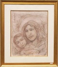 Virgin Mother Mary and Jesus Modern Art , Indian artist,