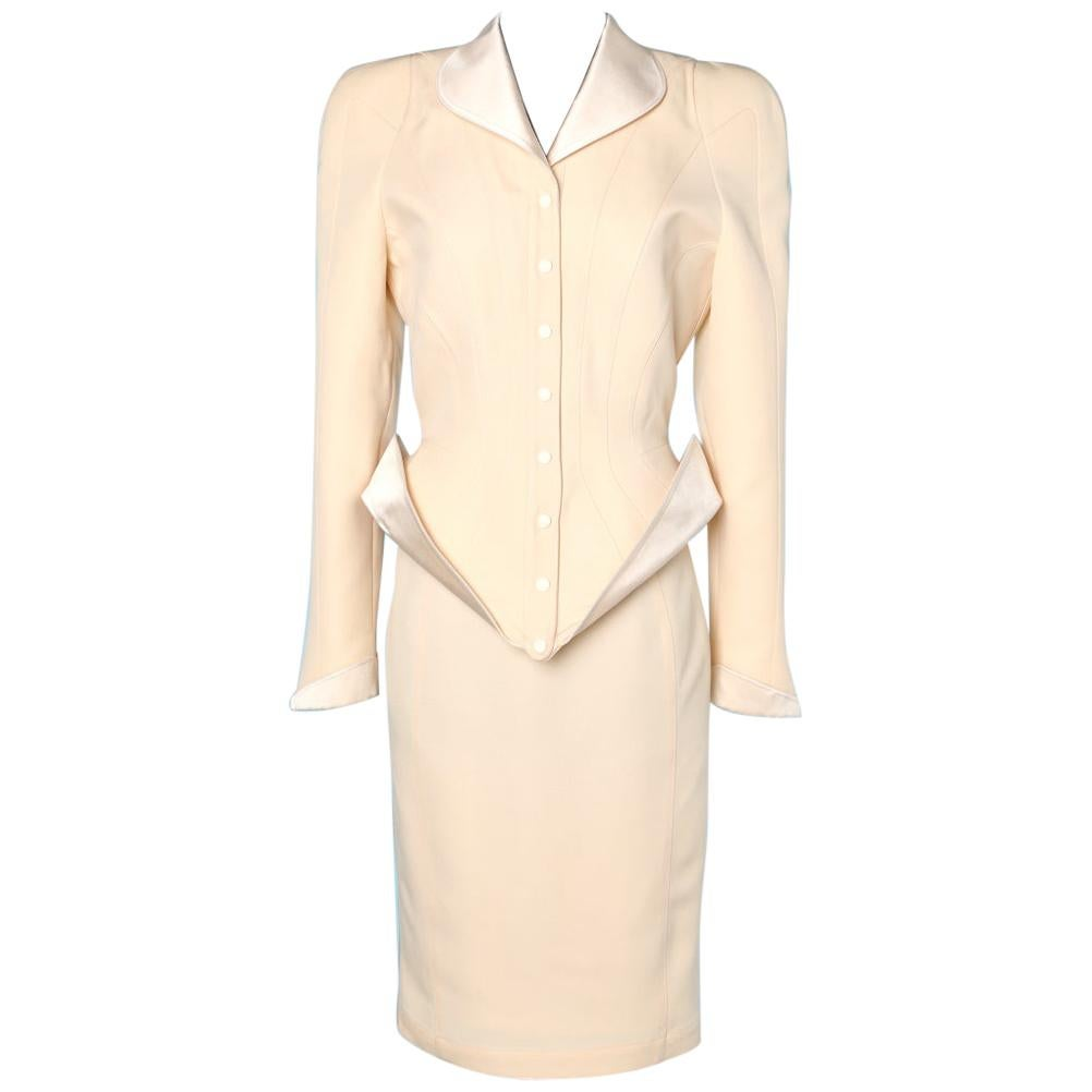 Suit 1987 in wool and satin Thierry Mugler