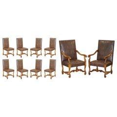 Suite of 10 Carolean Dining Chairs with Crocodile Alligator Patina Leather Ten