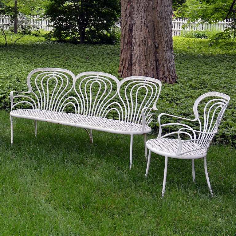 Metalwork Suite of 1930s Wrought-Iron Furniture For Sale