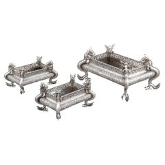 Suite of 3 Chinese Export Silver Jardinières