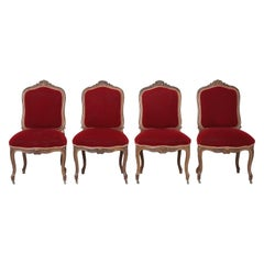 Suite of '4' Antique Italian Carved Walnut Side Chairs from a Parlor Suite