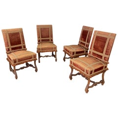 Suite of 4 Large Old Louis XIV Chairs in Walnut, 19th Century, from a Castle