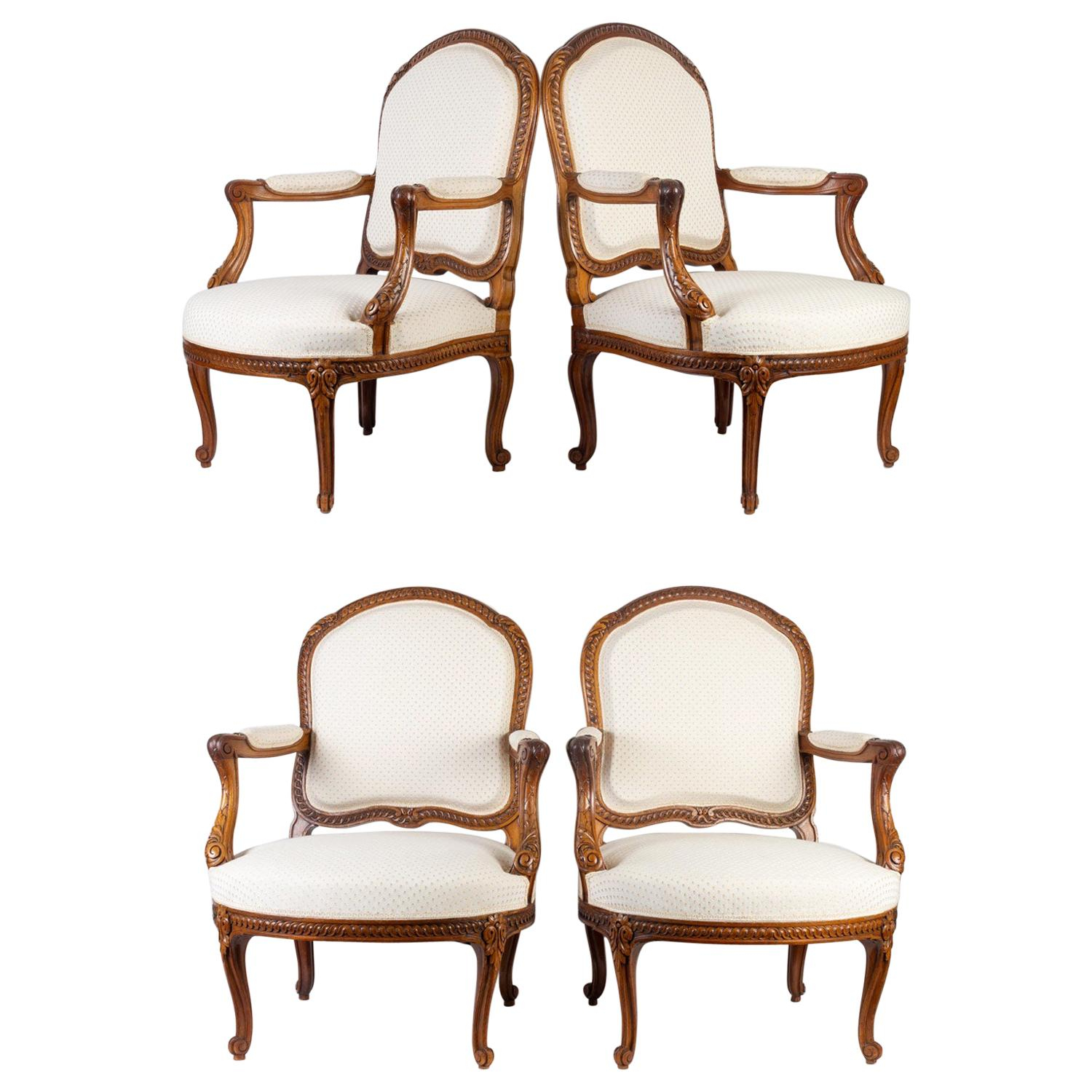 Suite of 4 Louis XV Style Armchairs