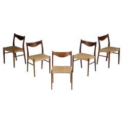 Suite of 5 Scandinavian Rosewood Danish Chairs, E407