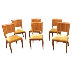 Suite of 6 Art Deco Chairs in Walnut and Walnut Veneer, circa 1930