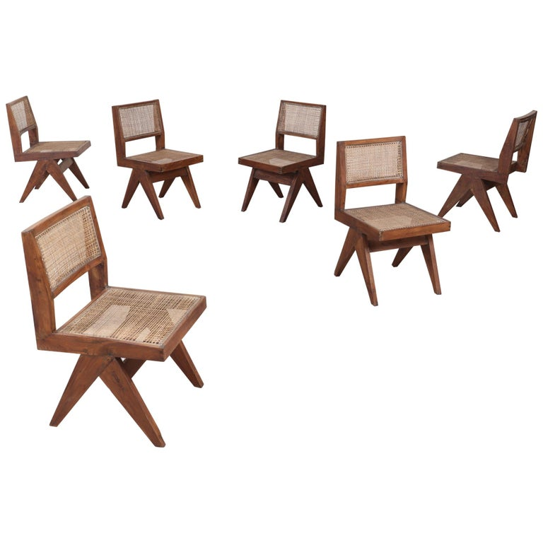 Pierre Jeanneret dining chairs, 1958, offered by Galerie Denoyelle Europe